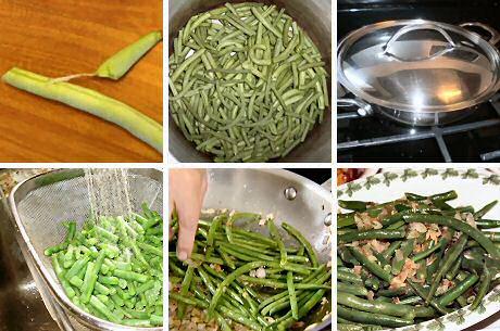 Boontjes klaarmaken in kokend water, verfrissen onder koud water en aanstoven met fijngesneden ui