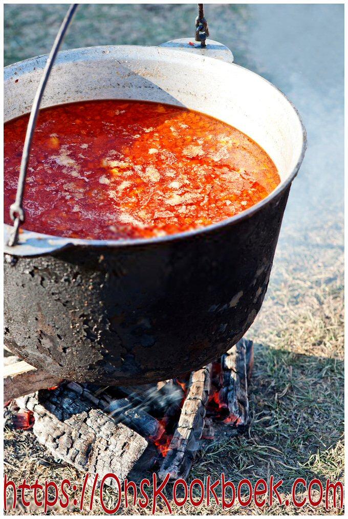Buiten goulash maken in een ketel boven een vuur