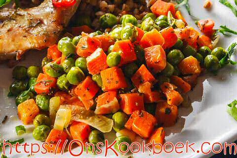 Erwten en wortelen klaarmaken