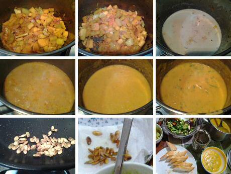 Stap voor stap recept met foto's om de lekkerste pompoensoep te maken, geserveerd met gebakken pompoenzaden, Franse brood, tapenade, gemengde sla en guacamole