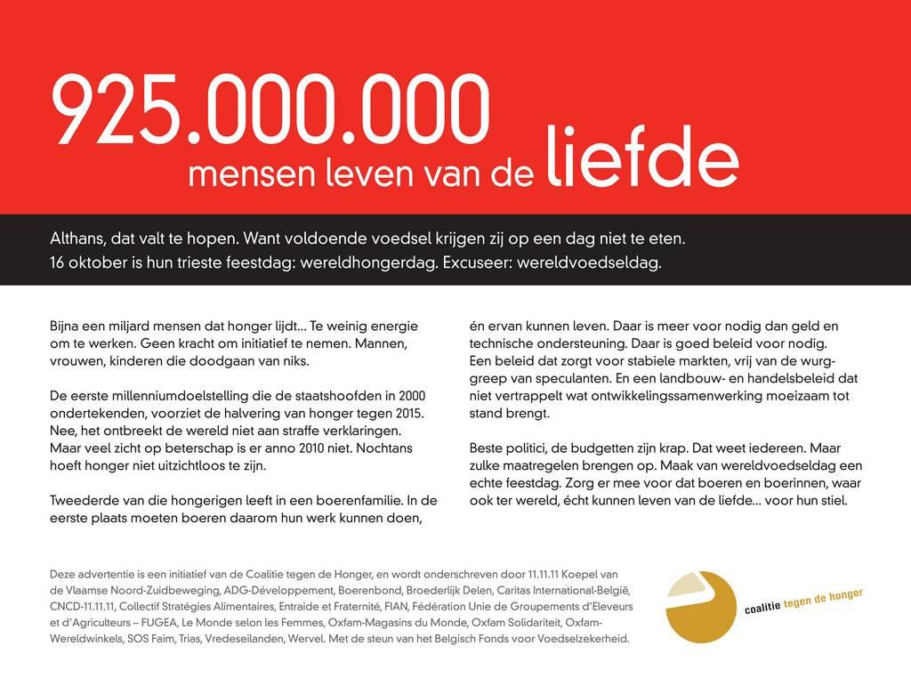 925.000.000 mensen leven van de liefde: wereldvoedseldag?