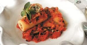 Stap voor stap recept om canneloni met spinazie en ricotta te maken en te graen in tomatensaus