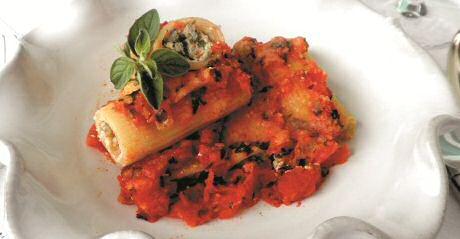 Vegetarische canneloni met spinazie en ricotta