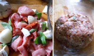 Zelf gehakt maken met varkensvlees, ui, salie, look en chorizo