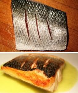 Vis bakken: maak enkele inkervingen in het vel van de zeebaars en bak op het vel in een pan tot het vel krokant gebakken is